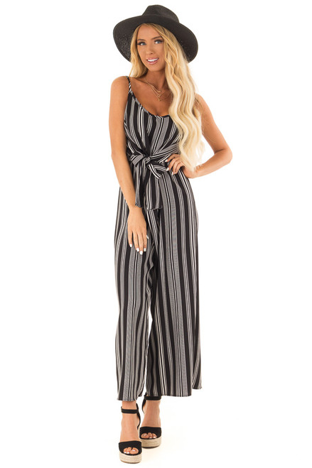 34a8da83f6a Obsidian and Ivory Striped Capri Length Jumpsuit with Tie