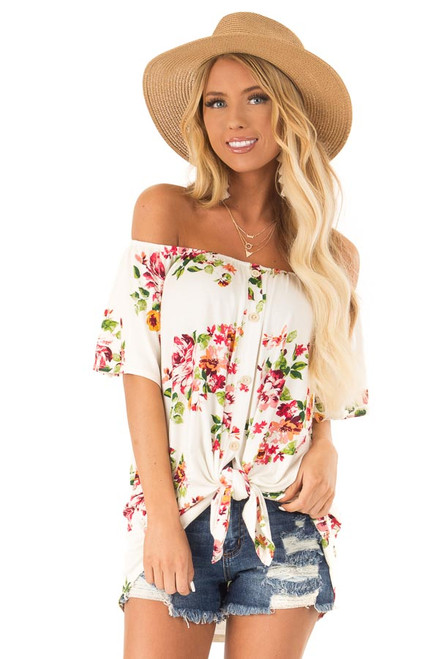 3b13b000247b9f Ivory Floral Print Off the Shoulder Button Down Top