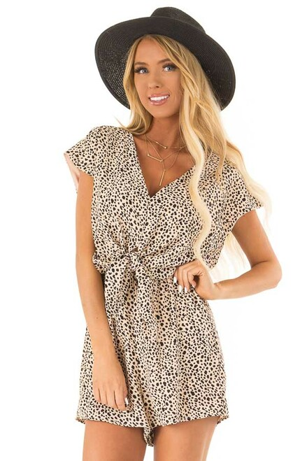 3386101782c Peach Cheetah Print Cap Sleeve Romper with Front Tie