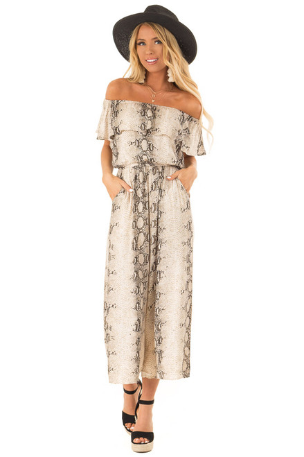 f800d39a091 Taupe Snakeskin Printed Off Shoulder Jumpsuit with Overlay