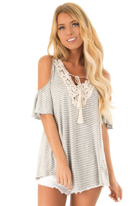 bc29177e19da9 Silver Grey Striped Cold Shoulder Top with Crochet Details