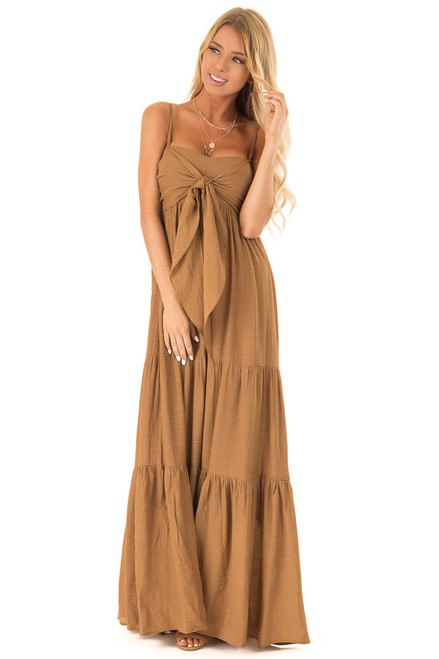 2731375cc071 Burnt Sienna Tiered Maxi Dress with Front Tie Detail