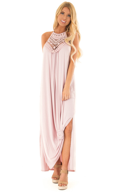 54ed410ccd8 Blush Spaghetti Strap Maxi Dress with Front Lace Detail