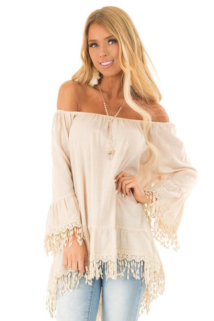 1241dd23077422 Parchment Off the Shoulder Linen Tunic Top with Bell Sleeves