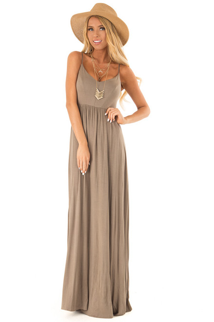 4abab493ce8 Olive Sleeveless Maxi Dress with Criss Cross Back Detail