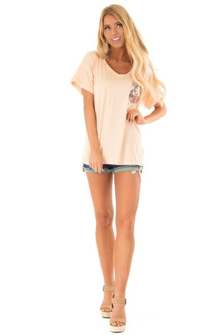 c390cdc0aefc ... Peach Short Sleeve Top with Sequin Pocket Detail front full body ...