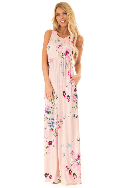bef7af06b21a7d Baby Pink Floral Racerback Slinky Maxi Dress with Pockets