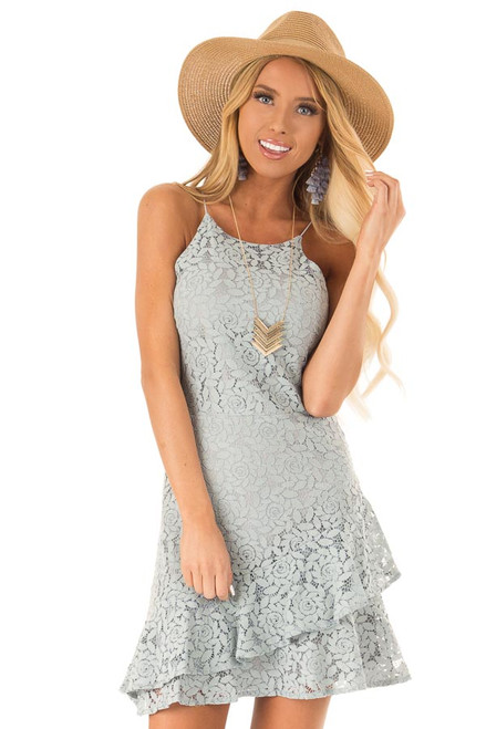 755678db9 Coconut White Floral Lace Dress with Ruffle Detail - Lime Lush Boutique