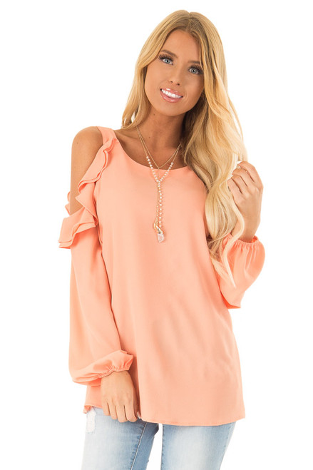 dba6f3f066675 Orange Cream Cold Shoulder Long Sleeve Top with Ruffles