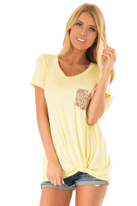 11f75cd6c738bf Daffodil Short Sleeve Top with Front Twist and Sequin Pocket.  38.99 · Slate  Blue Floral Lace ...