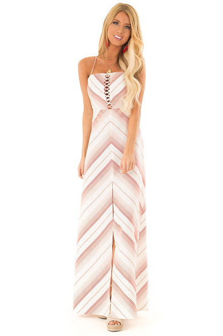 607f1c6344 Ruby Red and Ivory Striped Maxi Dress with Cutout Detail