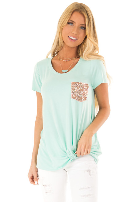8ec43bf71c97 Aqua Short Sleeve Top with Front Twist and Sequin Pocket