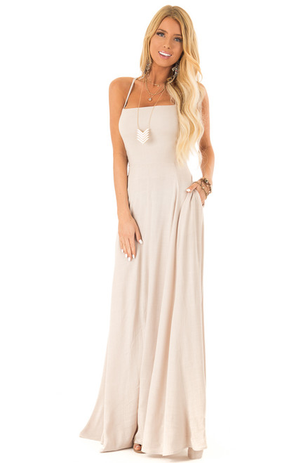 4a49476eb4d875 Khaki Maxi Dress with Open Lace Up Back and Pockets