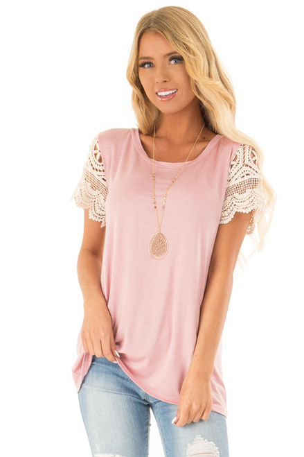 f20f163f09539 Dusty Blush Top with Sheer Lace Short Sleeves