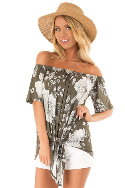 4211293375805 Olive Off The Shoulder Top with Floral Print and Front Tie