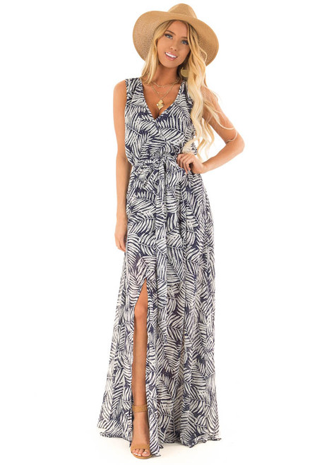 f5b0a7c44ef0 Navy Maxi Dress with Waist Tie and Knee High Slits
