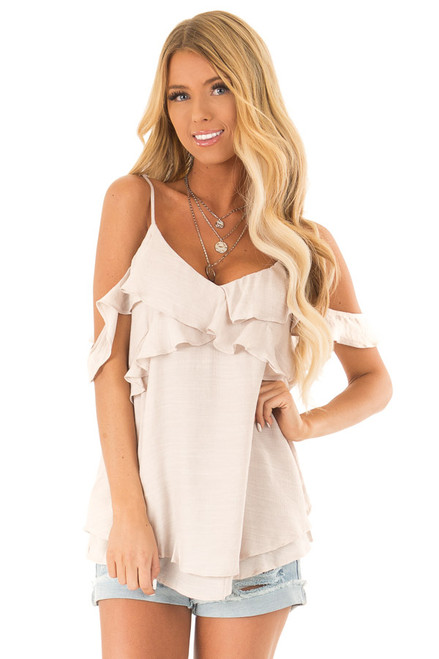 6ba7fcbd3669 Champagne Cold Shoulder Top with Double Ruffle Detail