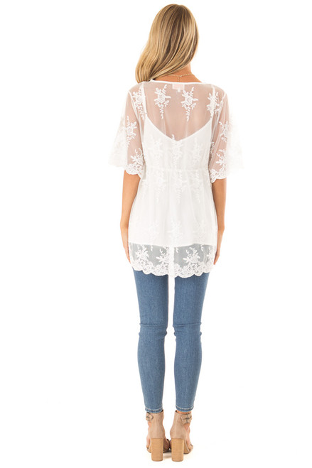 1112d4dee432dc ... Snowy White Sheer Floral Lace Short Sleeve Top back full body ...