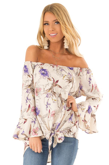 3342d21deef49e Cream Floral Off the Shoulder Top with Front Tie Detail