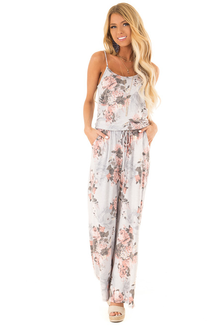 e62cb226e29 Heather Grey and Floral Jumpsuit with Pockets and Tie