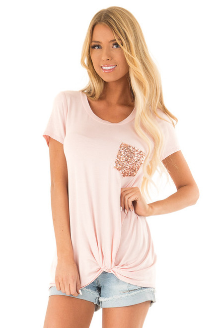 01bb896c00eeec Blush Short Sleeve Top with Front Twist and Sequin Pocket