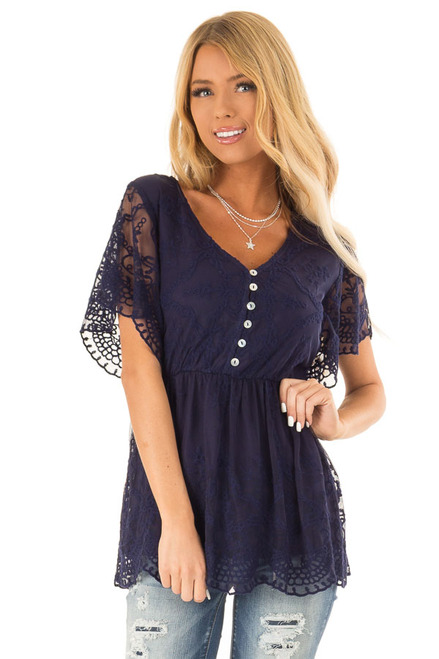 ddb53a1b4cc42 Navy Babydoll Short Sleeve Top with Lace Overlay