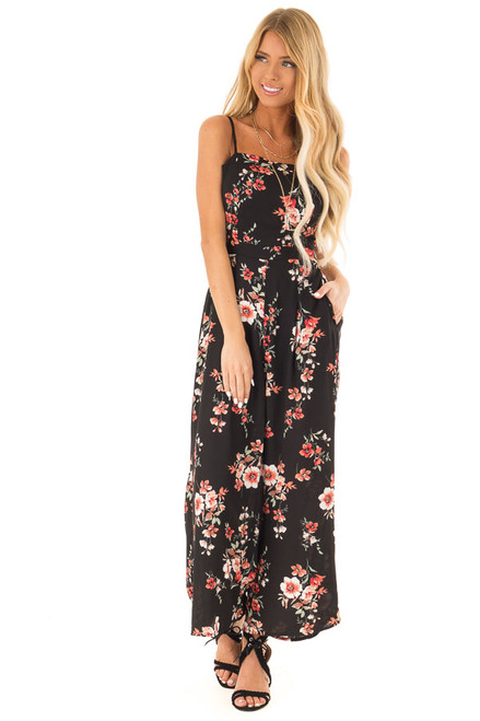 caf75fd8ce813f Ebony Black Floral Spaghetti Strap Jumpsuit with Pockets