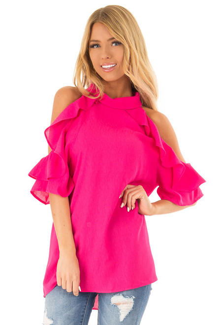 a25157b1632 Hot Pink Cold Shoulder Top with Ruffle Sleeve Details