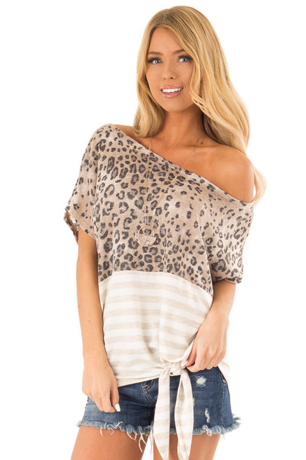 cba6fff83e9 Beige Off The Shoulder Top with Cheetah Print and Side Tie. $36.99 · Cream  Floral Off the Shoulder Top with Front Tie Detail front close up