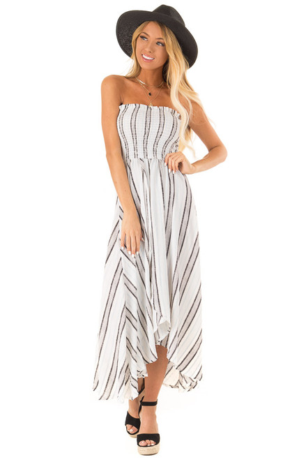 63772b1f23 Multicolor Striped Strapless Smocked Wrap Style Maxi Dress