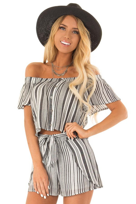 95648a72bba Coal Striped Off the Shoulder Top and Shorts Two Piece Set
