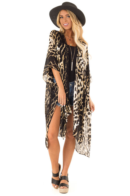 963f9e665b43 Oatmeal and Black Animal Print Open Front Kimono