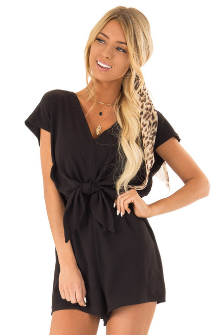 f2c575f3f45 Obsidian Cap Sleeve V Neck Romper with Front Tie