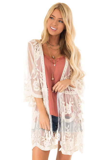3d2c6b99bb5 Cream Sheer Lace Floral Cardigan with Half Sleeves