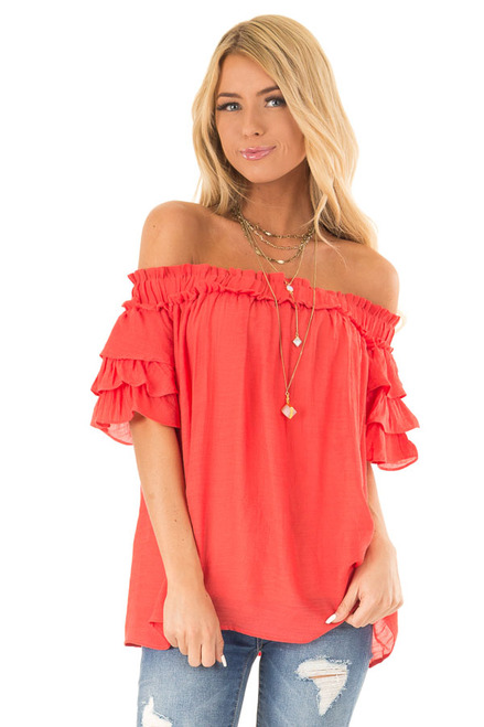 bb8b1c48008 Tomato Red Off the Shoulder Top with Ruffled Short Sleeves