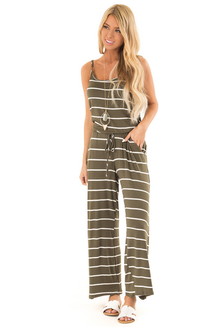 acea07c6490 ... Olive Striped Spaghetti Strap Jumpsuit with Waist Tie front full body  ...