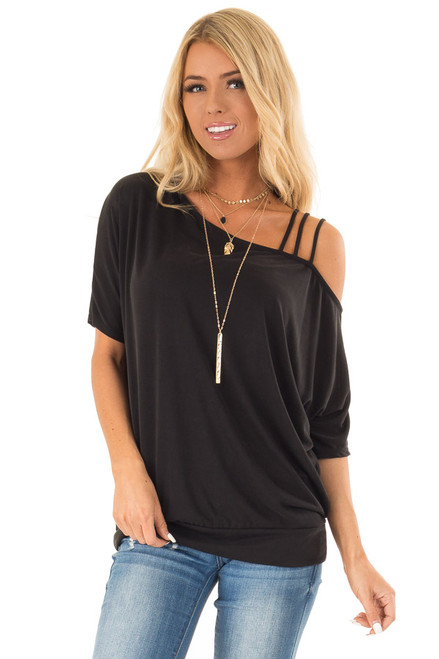 53247f3c188 Raven Black Soft Asymmetrical Off the Shoulder Top