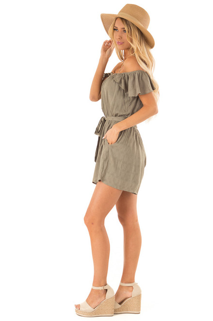 fd6d94ca460 ... Olive Off the Shoulder Romper with Button Detail side full body ...