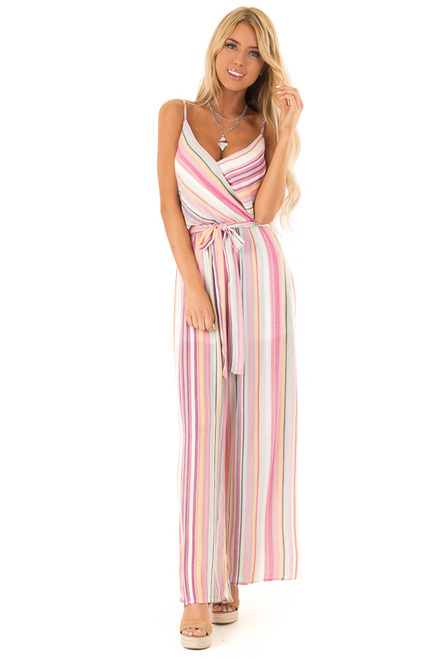 606171c61f8 Magenta and Off White Striped Jumpsuit with Waist Tie Detail