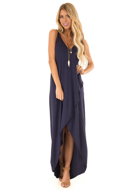 56898f0d9b Midnight Navy High Low Dress with Criss Cross Strap Back