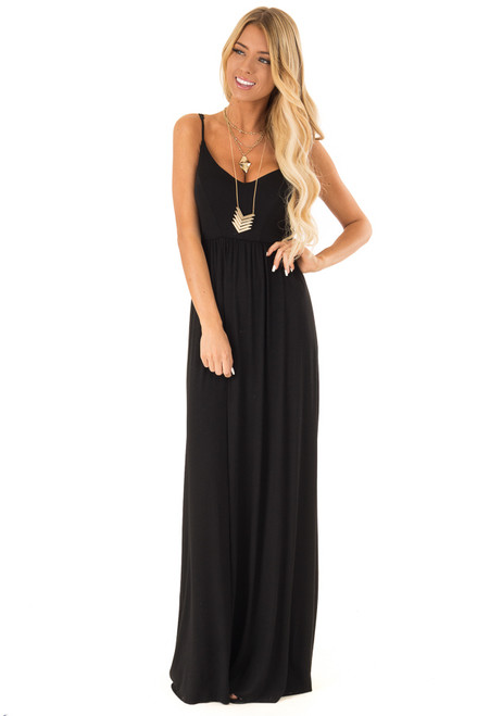 62a18fc4e23 Obsidian Sleeveless Maxi Dress with Criss Cross Back Detail