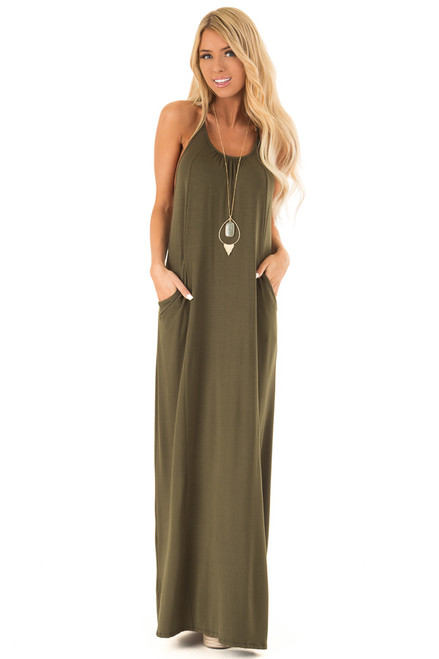 4ad79418801 Hunter Green Maxi Dress with Back T Strap Detail