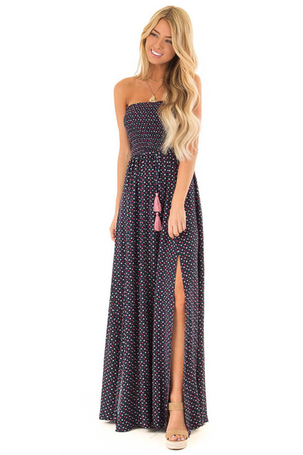 9d33954aab2 Navy Sleeveless Maxi Dress with Floral Print and Front Slits