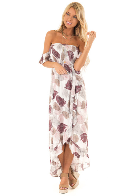 04262342b9f Mulberry Leaf Print Off Shoulder Strappy Backless Maxi Dress