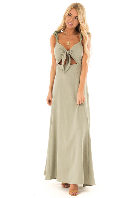 8a571aa2aa0 Olive Knotted Front Maxi Dress with Cutout and Ruffle Straps