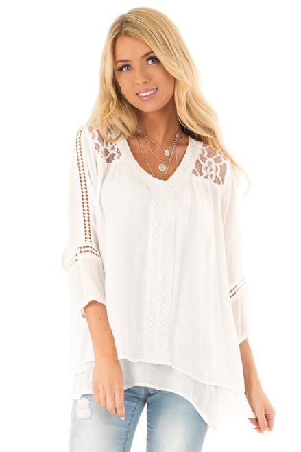 0396a92c7ab Coconut White V Neck Blouse with Crochet Lace Detail