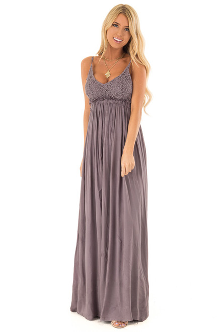 239b74c55c7 Ash Grey Backless Maxi Dress with Crochet Bodice Detail.  59.99 · Olive  Knotted Front Maxi Dress with Cutout and Ruffle Straps front full body