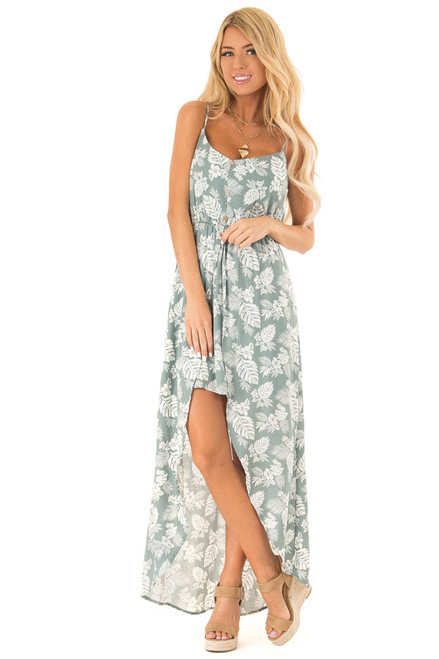06e6bb6227c Sage and Ivory Tropical Print Spaghetti Strap High Low Dress