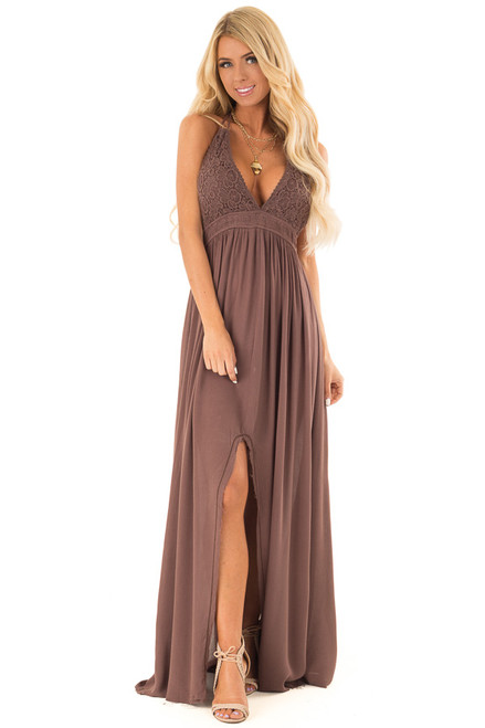 a3640da12f Chocolate Backless Halter Top Maxi Dress with Lace Details