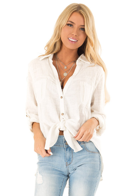 67239994b46 Daisy White Woven Button Up Top with Front Tie Detail